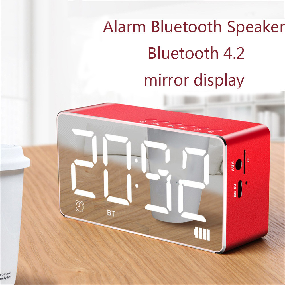 New Red Mini Bluetooth Wireless Super Bass Speaker TF Card Audio Double alarm clock design for Mobile phone,iPod,iPhone,Computer