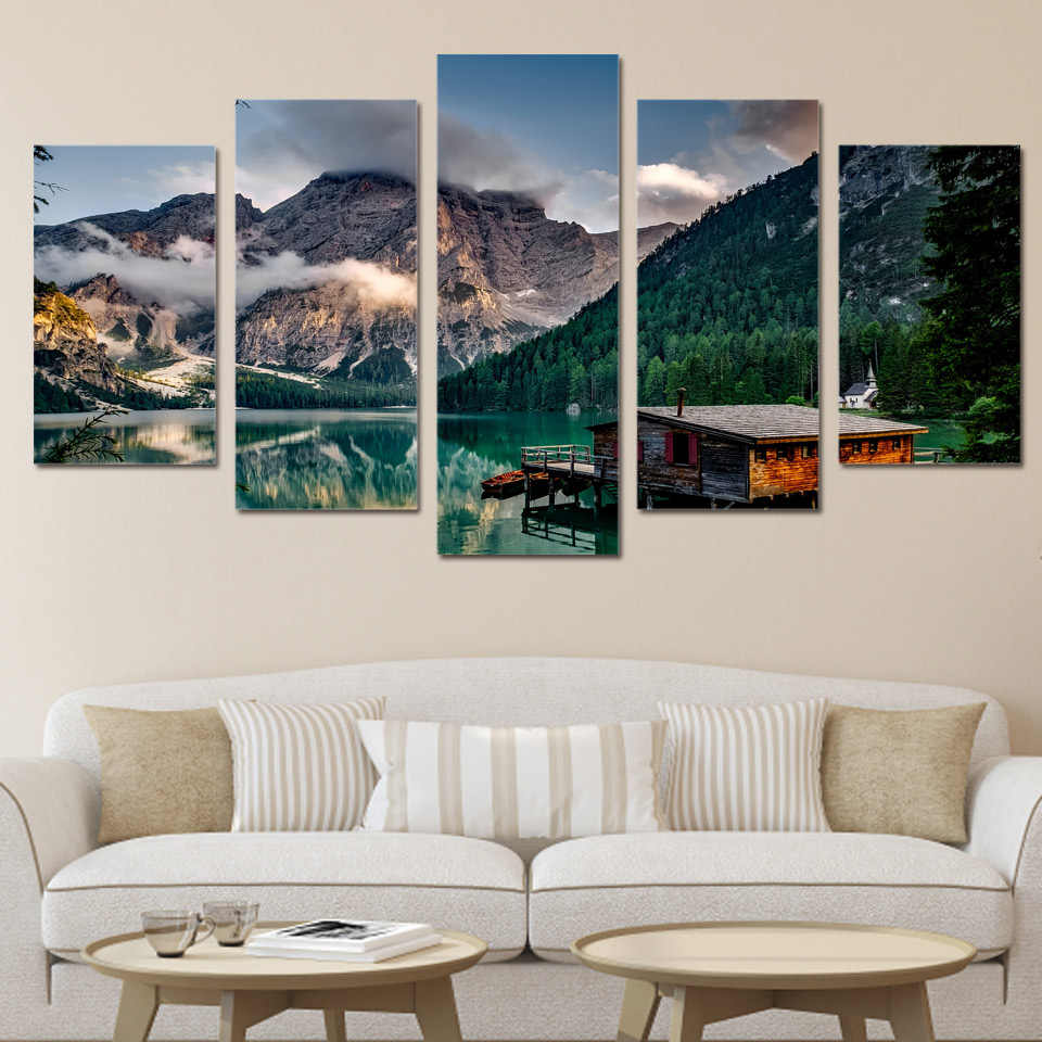 HD 5 piece canvas Printed lake boat mountain Painting Canvas Print room decor print poster picture canvas Free shipping/ny-6047B