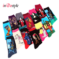 inDostyle harajuku Europe USA Washington starry night Venus Scream male Cupid Retro Art Oil Painting  Cotton women Men's Socks