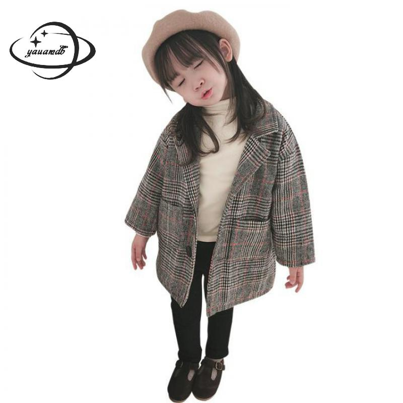 Open-Minded Kids Blazers Autumn&spring 2-9y Single Breasted Girls Suit Jackets Clothing Long Plaid Fashion Children Clothes Y51 Sale Overall Discount 50-70%