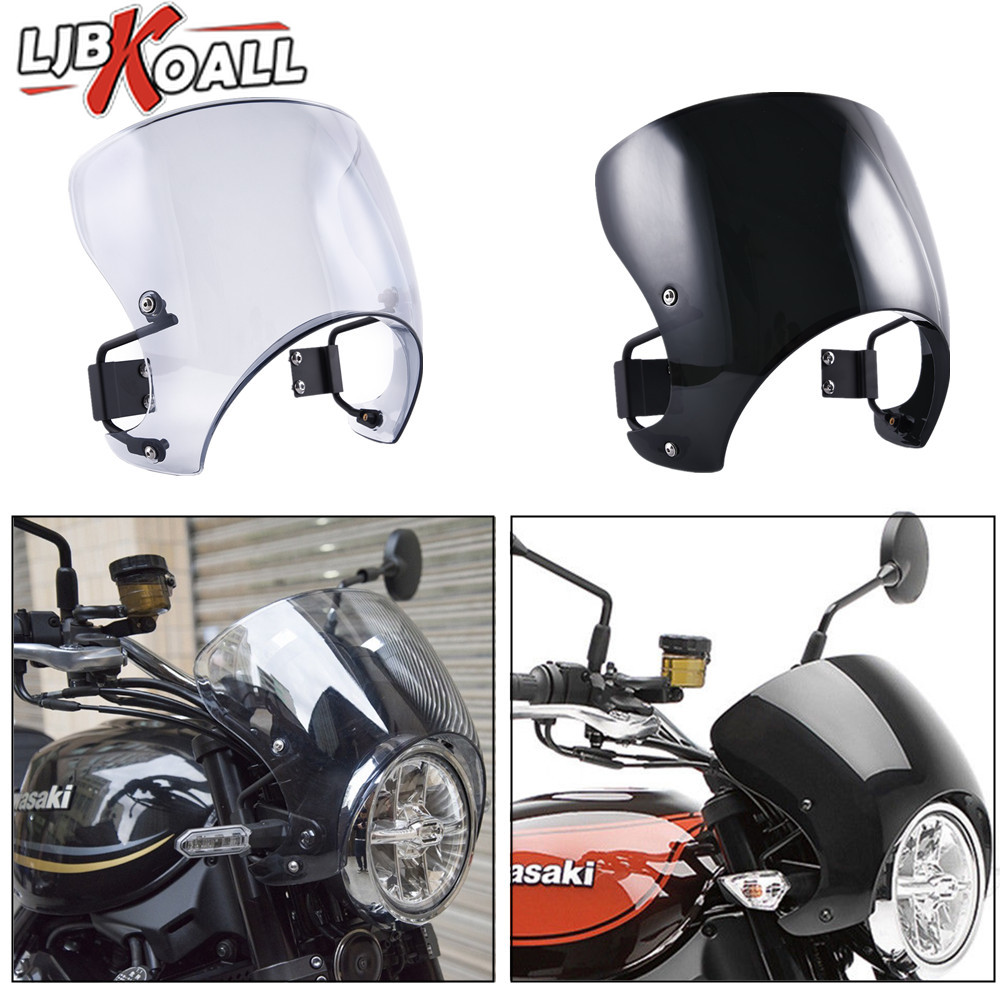 Black Motorcycle Windshields,Universal Windscreen w//Mount Bracket Fit 5 to 7 Round Headlights,for Yamaha Suzuki Kawasaki Triumph Ducati Chopper Cruiser