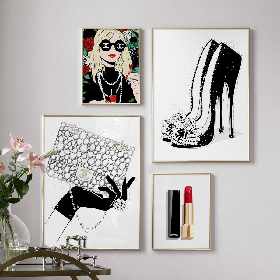 Lipstick Handbag High Heels Wall Art Canvas Painting ...