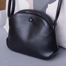 Bolso cruzado pequeño de piel auténtica para mujer, bandolera de hombro a la moda, de lujo