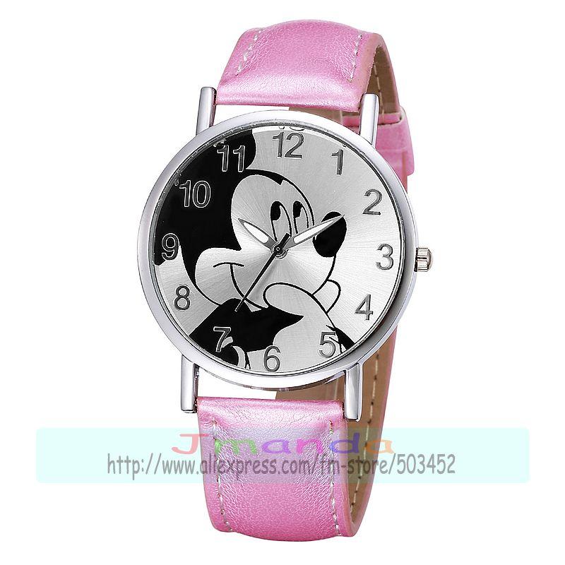 100pcs lot 8132 cute leather watch mouse design silver case causal watch wrap quartz dress wristwatch