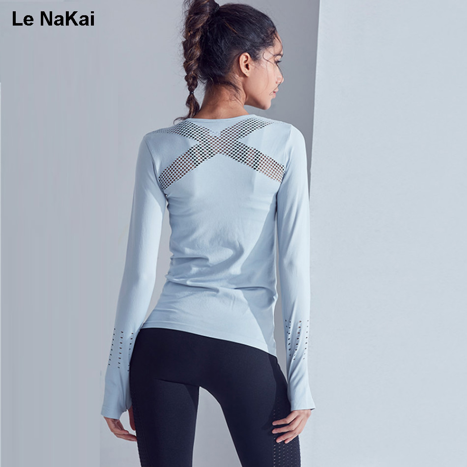 Le NaKai Seamless sports shirt women long sleeves workout yoga top with thumb hole sexy mesh back fitness yoga shirts gym top crazyfit mesh hollow out sport tank top women 2018 shirt quick dry fitness yoga workout running gym yoga top clothing sportswear