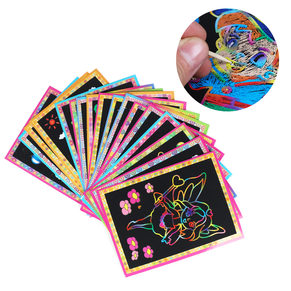 10pcs/lot Child Kids Magic Scratch Art Doodle Pad Painting Cards Toys Early Educational Learning Drawing Toys