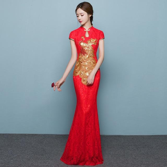 Bride Long Cheongsam Dress Red Lace Qipao Vestidos Robe Chinoise ...