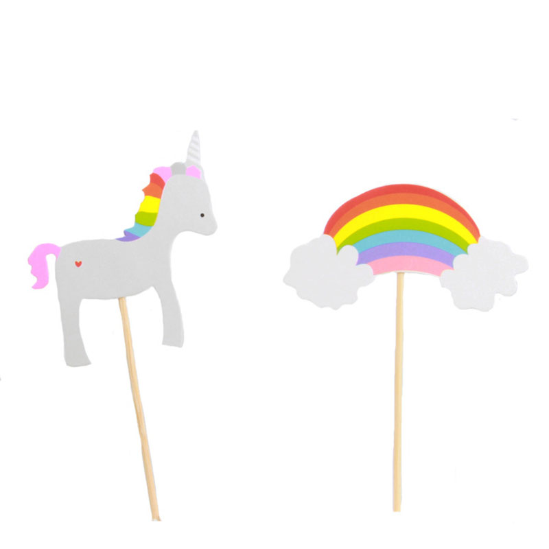 6pcs Unicorns Horse and Rainbow Theme Party Supplies Cartoon Cupcake Toppers Pick Kid Bi ...