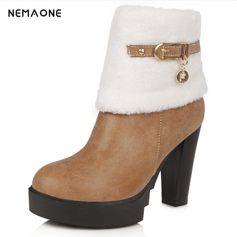NEMAONEsize 34-43 women flat half short ankle boots winter snow boot cotton quality fashion buckle footwear warm botas shoes size 33 43 women real natrual genuine leather snow high heel ankle boots half short botas winter boot warm footwear shoes r7401
