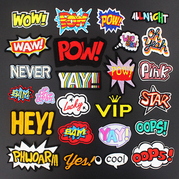 Popular WOW OOPS POW HEY Oh Yeah Transfer Iron on Patches for Clothing Embroidered Badge Sewing Applique DIY Stickers image