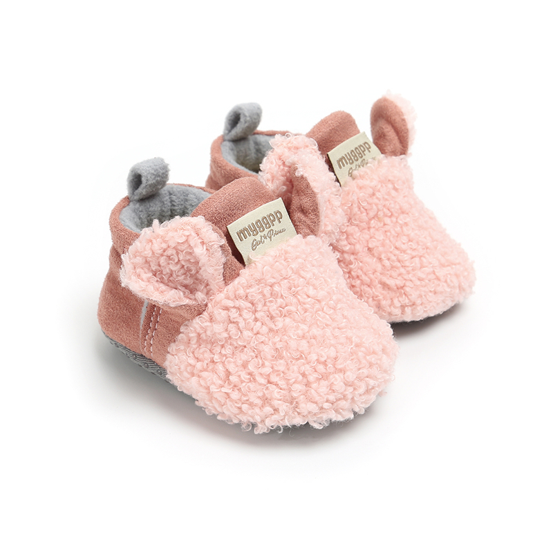3Solid Colors Warm Shoes Newborn Baby Girl Soft Sole Leather Crib  Anti-slip Sneaker Prewalker 0-18M