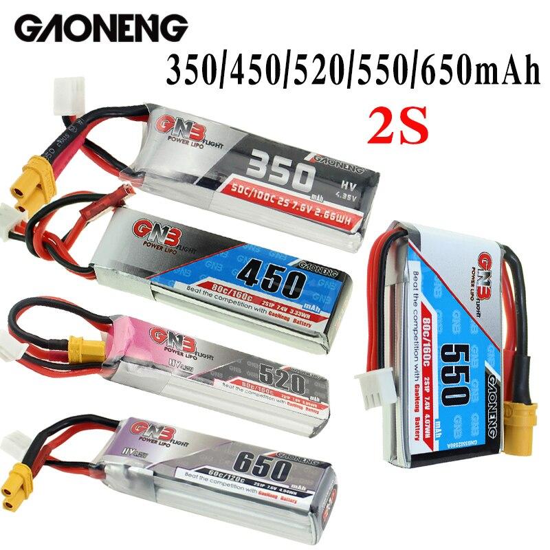 Gaoneng GNB 350/450/520/550/650mAh XT30 2S HV Bateria Lipo Ficha para beta75X RC Zangão FPV Corrida