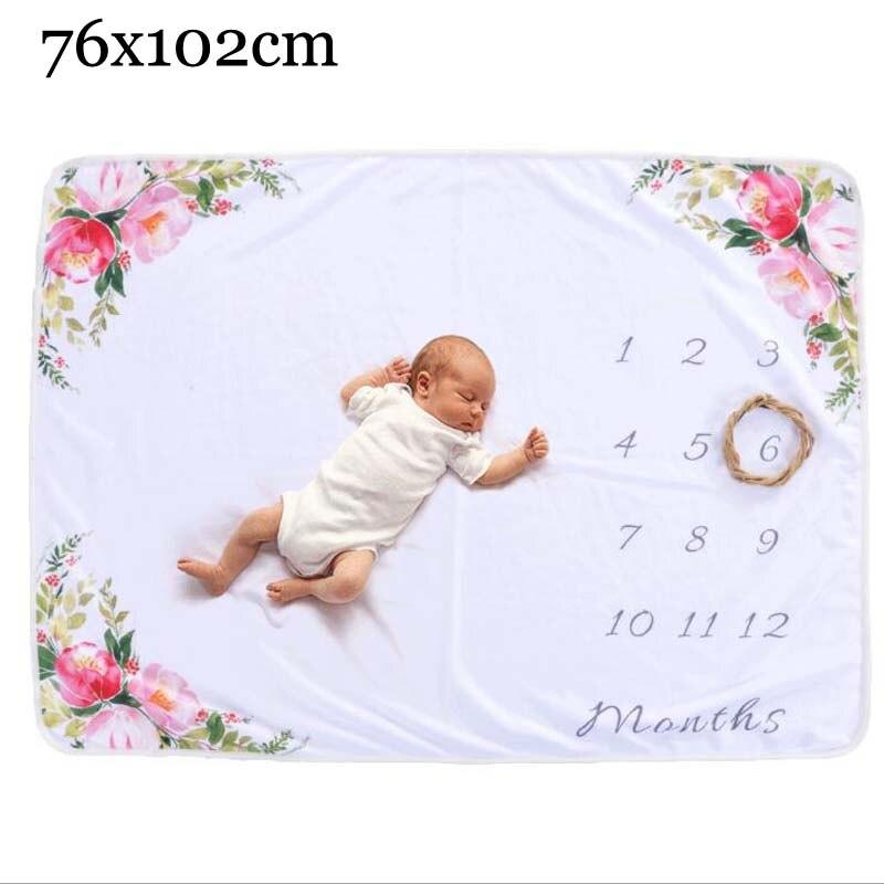 Прямоугольное одеяло-Ростомер для новорожденного ребенка/ребенка, подарок для мальчика, одеяло для фотосъемки 76X102 см - Цвет: flower  B