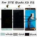 Negro/blanco/oro lcd + tp para zte blade x3 d2 t620 a452 pantalla lcd con pantalla táctil digitalizador asamblea + free gratis