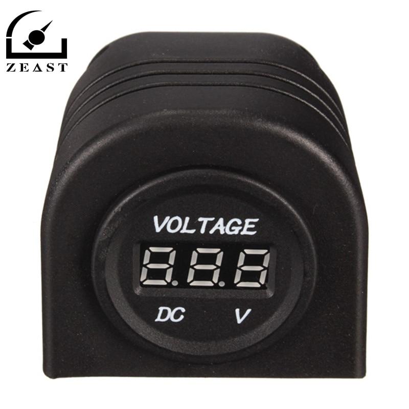 New Black 12-24V Outlet Waterproof Dustproof Car LED Display Digital Voltmeter