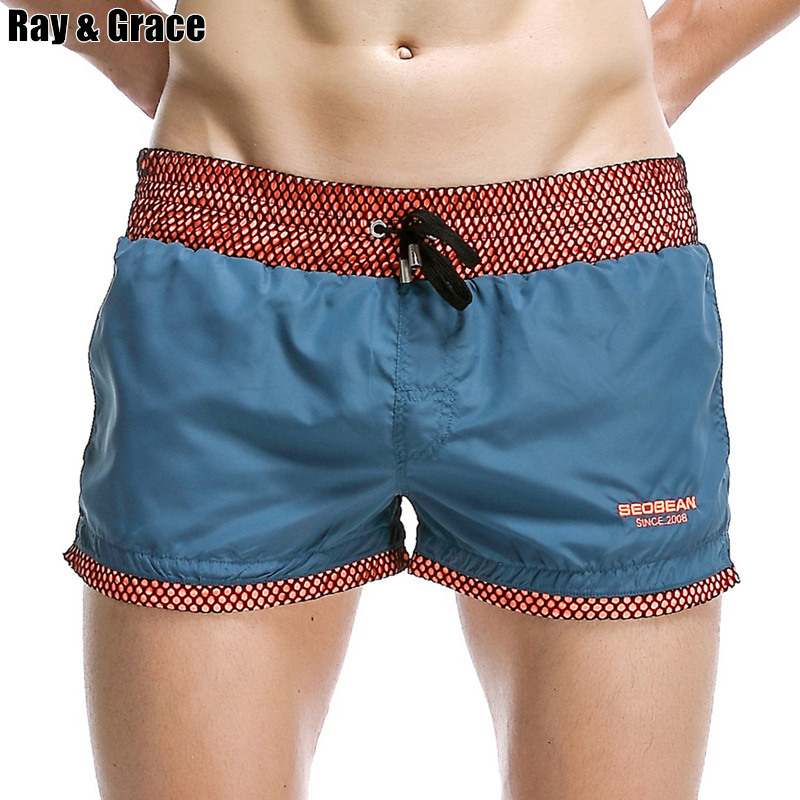 RAY GRACE Beach   Shorts   Men Breathable Sport   Board     Shorts   Solid Color Elastic Waist Beachwear   Shorts   With Pockets Summer   Shorts