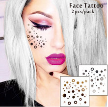 #F04 2 Pcs/ Set Face Decor Tattoos, Non-toxic And Waterproof Round Points Glitter Makeup,Jazz Aspen Snowmass
