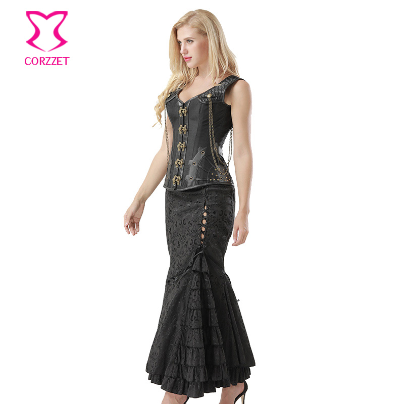 559936f3670 Punk Black Leather Armor Satin Steel Boned Steampunk Overbust Corset Dress  Plus Size 6XL Vintage Gothic Corset Bustier Skirt Set-in Bustiers   Corsets  from ...