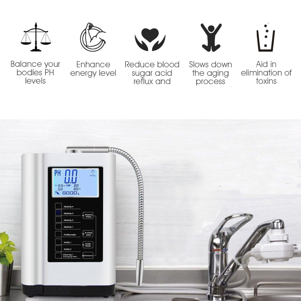 Alcaline Ioniseur D'eau Machine Purificateur Produit pH 3.5-10.5 Acide Alcalin jusqu'à-650mV ORP LCD Toucher L'eau filtre d'ionisation