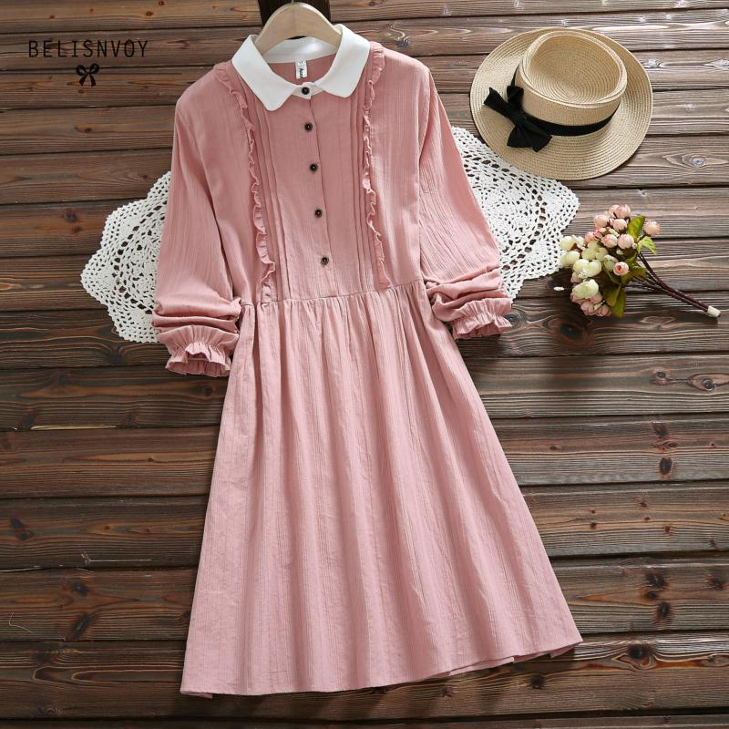 Vestidos Verano 2019 Blue Pink Japan Style Mori Girl Sweet Dress Women Ruffles Long Sleeve Cotton Linen Vintage Dresses