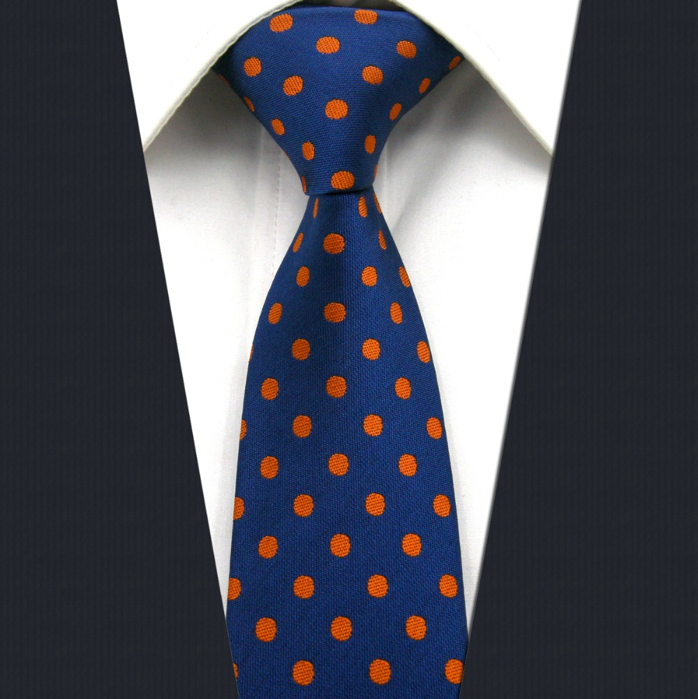 UZ5 Navy Orangere Dots Silk Handmade Fashion Classic Brand New Dress Skinny Necktie Slim Necktie Groom