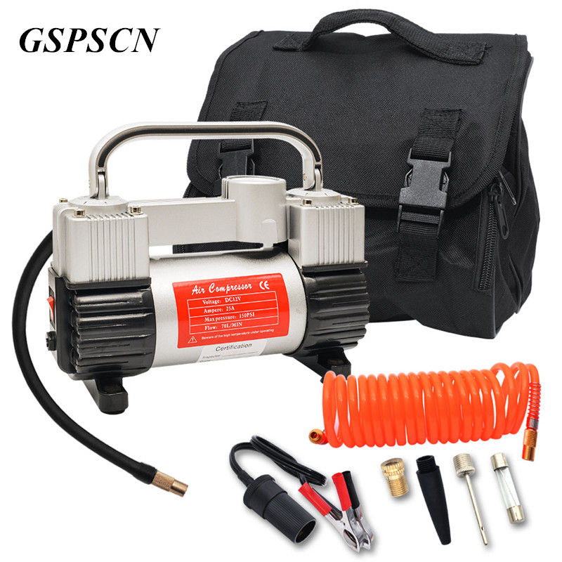 GSPSCN Tire Inflator Heavy Duty Double Cylinders with Portable Bag 12V Metal Air Compressor Pump 150PSI with Adapter 12v portable digital car air tire compressor double cylinder heavy duty 150psi tyre pressure inflator pump vacuum cleaner