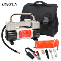 GSPSCN Tire Inflator Heavy Duty Double Cylinders with Portable Bag 12V Metal Air Compressor Pump 150PSI with Adapter