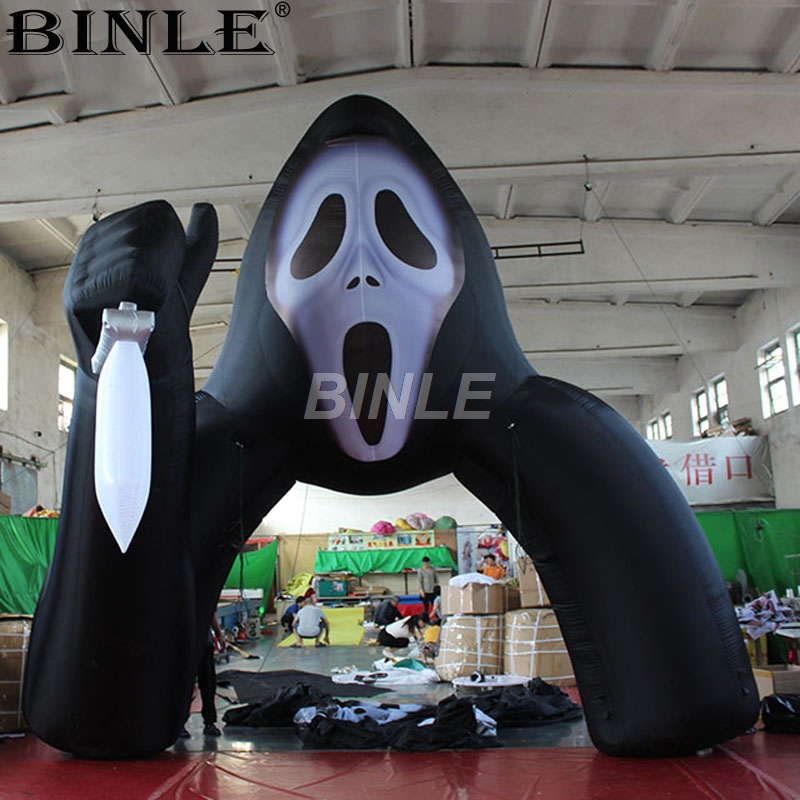 Popular holiday event giant black scary skull ghost arch inflatable archway halloween with air blower for yard party decoration halloween costumes scary screaming ghost mask skeleton patterned coat set black white