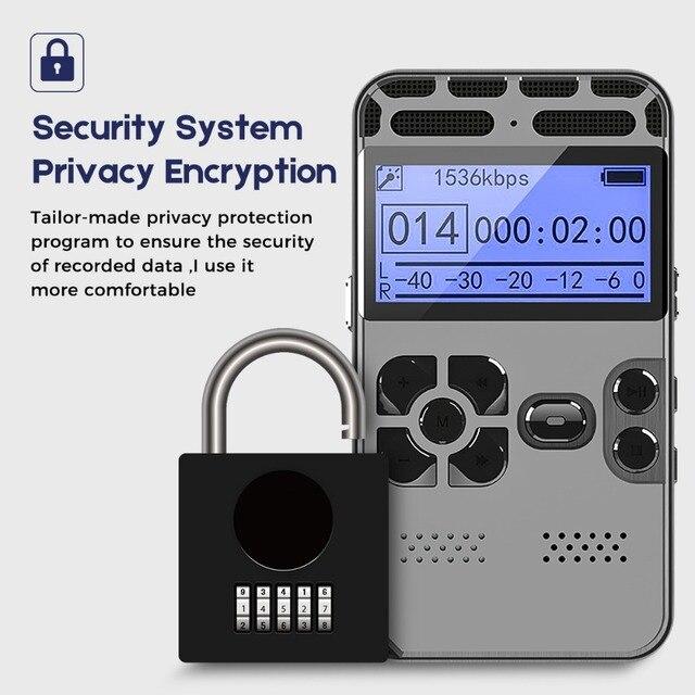 Password Protection Hidden Voice Recorder Dictaphone Registrar MP3 HIFI Stereo 1536KPS Gray Color Secret Record Player Device
