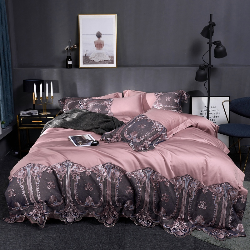 Luxury 60S Egyptian Cotton Blue Brown Green Pink Gray Purple Red Palace Bedding Set Lace Duvet Cover Bed Sheet/Linen Pillowcases