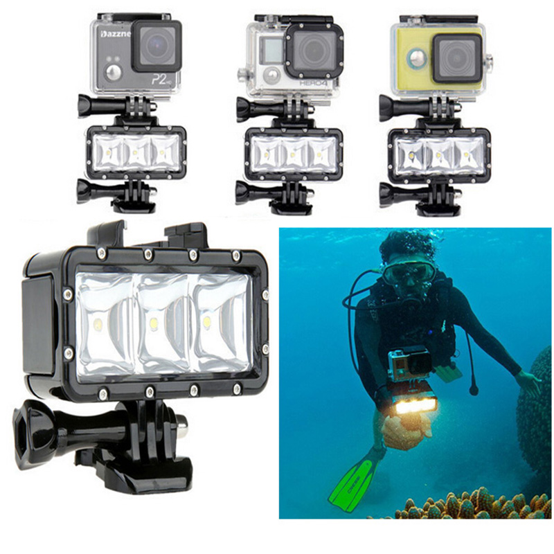 GoPro Accessories Underwater Light Diving waterproof LED video light+Battery&buckle mount For GoPro Session/Hero4/3+/3/Xiaomi Yi