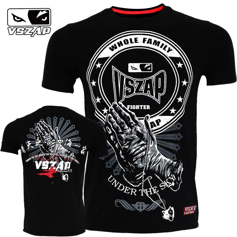 VSZAP Kampf Sanda Boxen MMA T Shirt Gym Tee Shirt Kampf Kampf Kampfkunst Fitness Training Muay Thai T-shirt Männer Homme