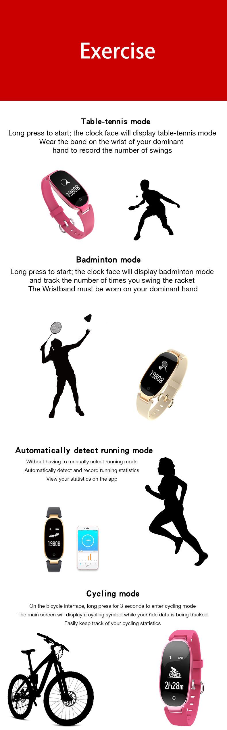 Soprt S3 Smart Watch Women Smart Bracelet Watches Bluetooth Heart Rate Monitor Fitness Tracker For Android IOS Clock reloj mujer 17