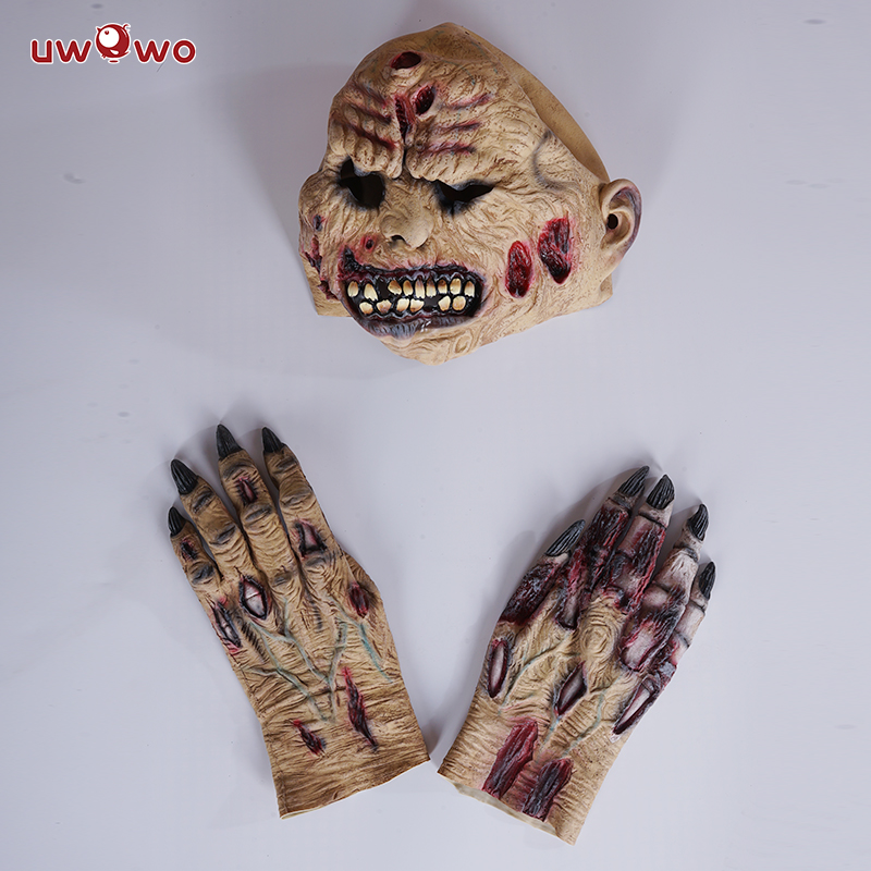 UWOWO Scary Mask and Hands Sets for Halloween Cosplay Costume Anime Movie Halloween Decoration for Kids
