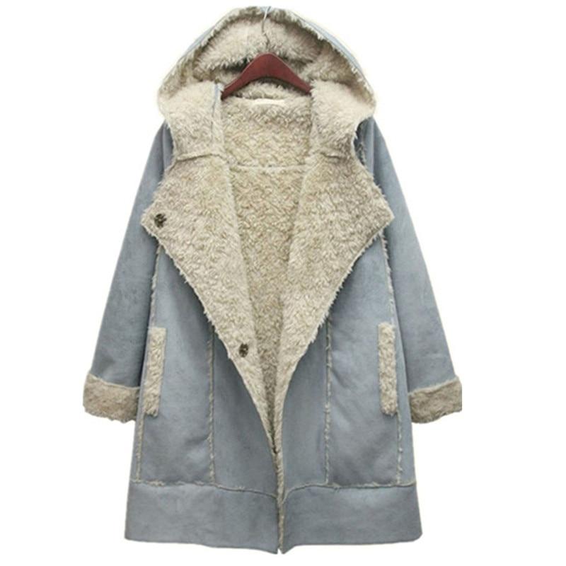 European Style Winter Jacket Women Thick Lamb Wool Suede CoatsWoolen Winter Coat Women Hooded Warm   Parkas   Jackets Female C2622