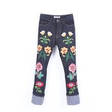 Superb Men's Embroidery Floral Brand Jeans Pant Slim fit Fashion Cool Turn-ups Cuff Straight Jeans Hot New