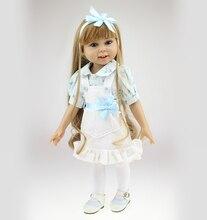 18 inch Full Vinyl American Girl Doll Fashion Girl Doll Toy Birthday Gift Long Hair Fashion Doll Dress