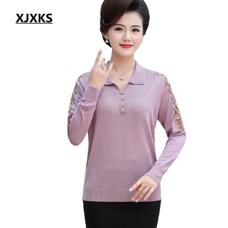 6036ef1a44f XJKXS свободные большие размеры удобные льняная кофта женские 2019 Осень  Весна Новая мода Turn-Down воротник с длинным рукавом пуловер женский