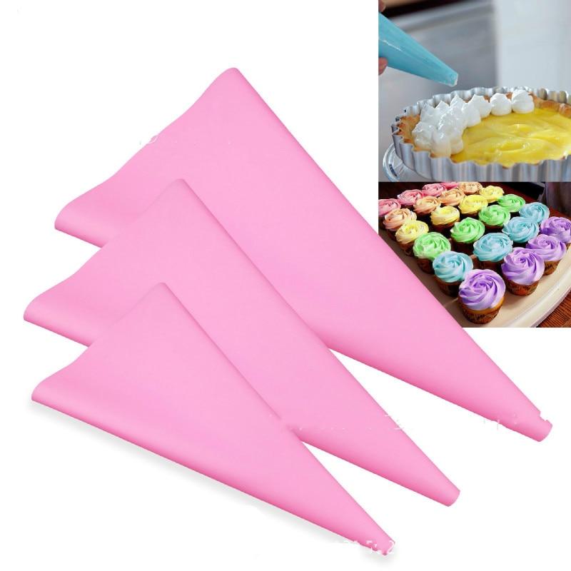 3pcs Silicone Reusable Icing Piping Bag Pastry Bag Cake ...