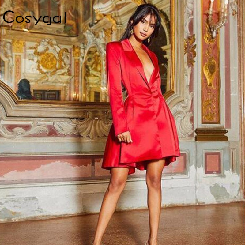 COSYGAL Summer Autumn Secy Casual Mini Dress Women 2018 New Club Party  Backless Dresses Red Long Sleeve V Neck Vestidos -in Dresses from Women s  Clothing on ... e48b960219c7