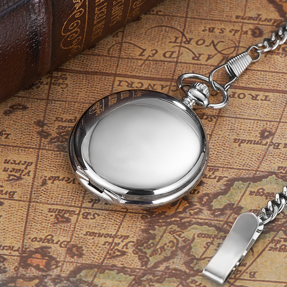 Image 4 - NEW Hot Brand OUYAWEI Brand Mechanical Hand Wind Pocket Watch Silver Black Stainless Steel Case Water Resistant Hombre Watch Menpocket watchpocket watches brandspocket watch silver -