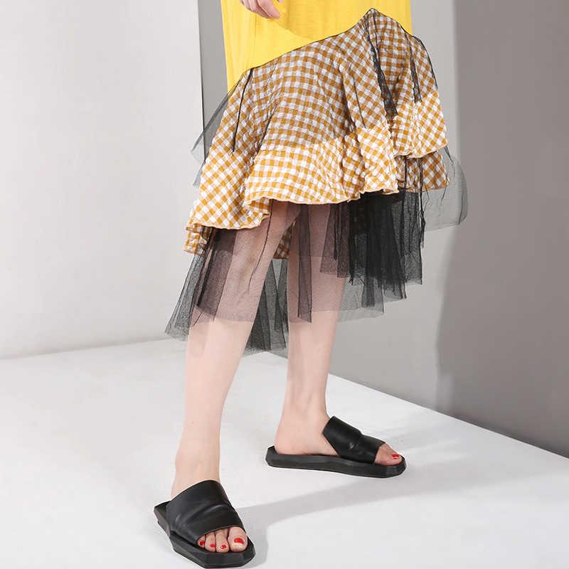 [EAM] Новинка 2019 года; сезон весна-лето; круглый вырез; короткий рукав; оборки; сетка; принт в клетку; темперамент; нарядное платье; женская мода; JR570