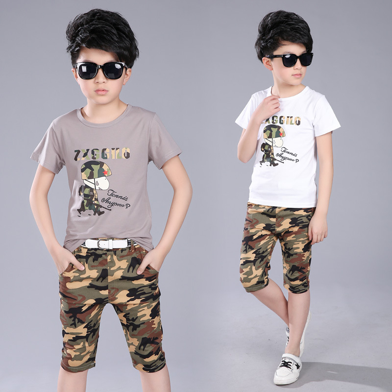 2017 New Big Boys Summer Clothing Set 100 Cotton Cartoon Patterns Camouflag Clothing Suit For 5 6 8 10 12Years Boys Short Sleeve