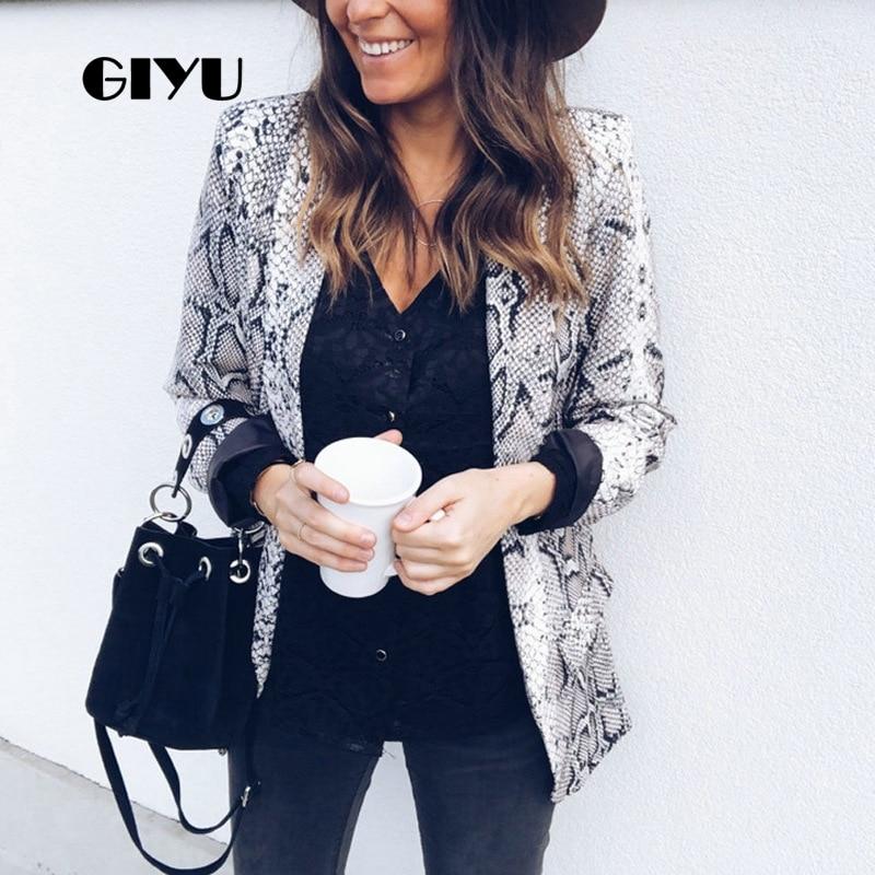 GIYU Women Snake Skin Printing Blazer Long Sleeve Notched Jackets Sexy Slim Tops Casual Camiseta Mujer