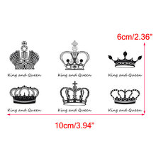 Removable Waterproof Temporary Tattoo Body Art Stickers King and Queen Crown(China)