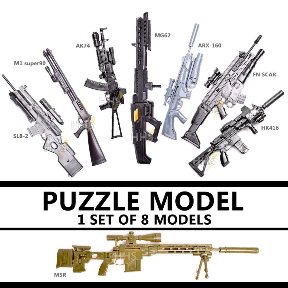 8pcs/set 1:6 1/6 Scale Action Figures Remington Modular Sniper Rifle For MG Bandai Gundam Model Second Generation HK416 AK-74