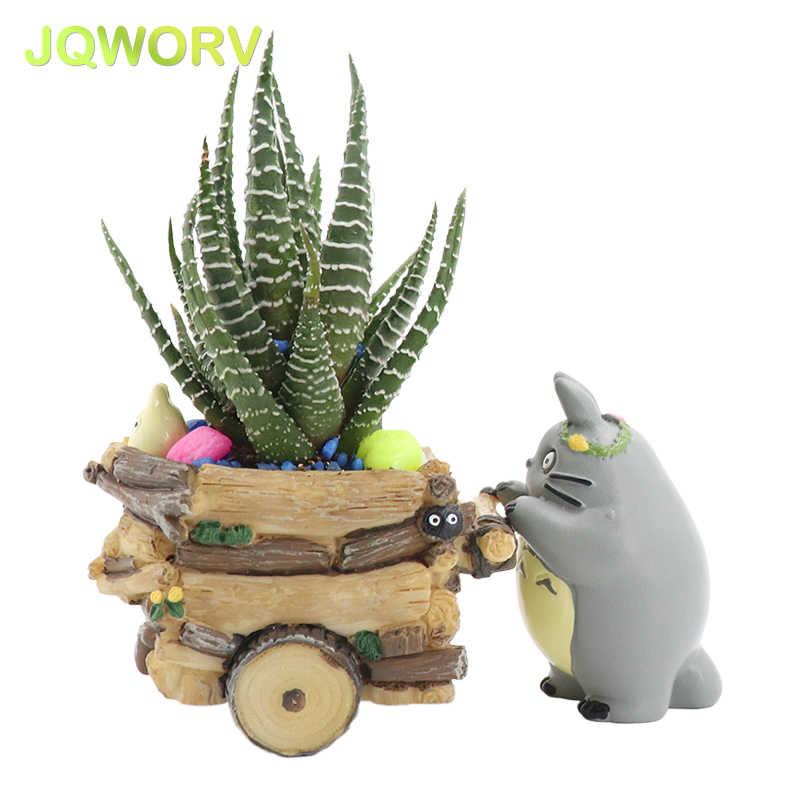 JQWORV الحديثة الكرتون زارع نباتات وعاء الراتنج الحرف الإبداعية لطيف توتورو اناء للزهور ديكورات المنزل زهرية macetas الأواني