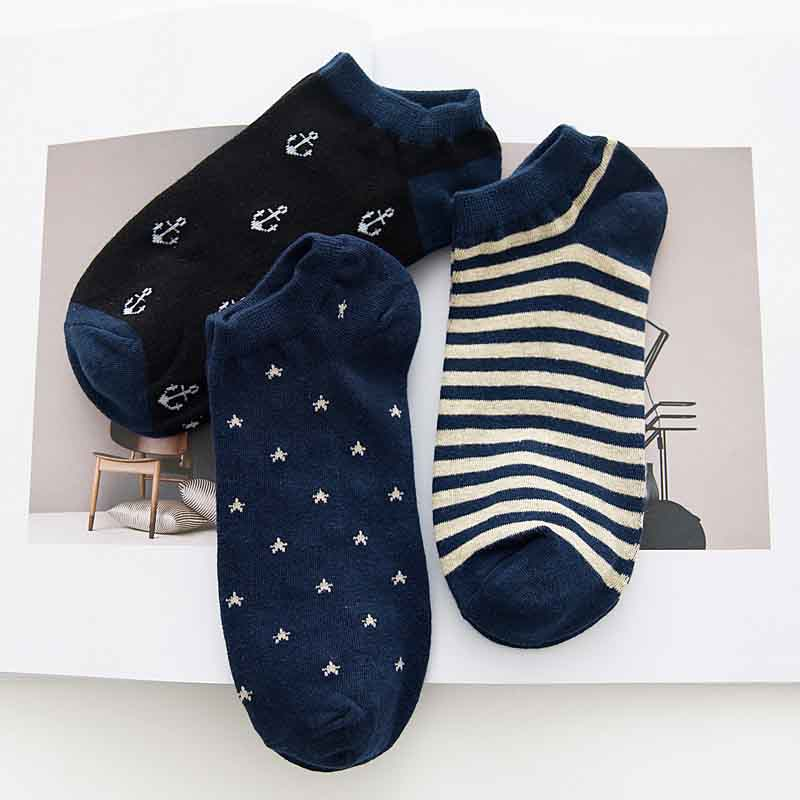 Fahion Casual Cotton Short Sock Men Nonslip Invisible Stripe Star Short Socks Breathable Deodorant Hosiery Wholesale