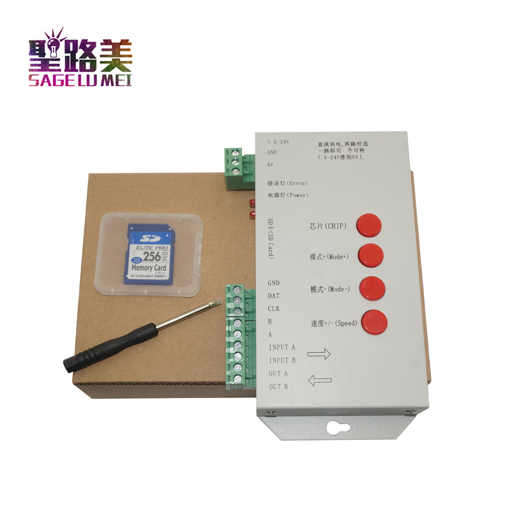 High Quality T1000S SD Card WS2801 WS2811 WS2812B LPD6803 LED 2048 Pixels Controller DC5~24V T-1000S RGB Controller