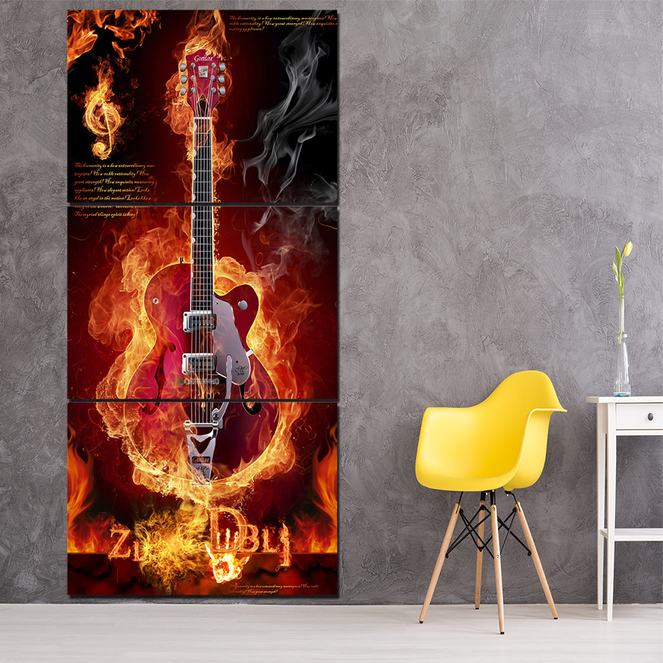 постер в интерьере с гитарой тренировках